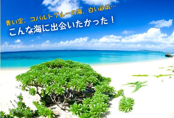 青い空、コバルトブルーの海、白い砂浜