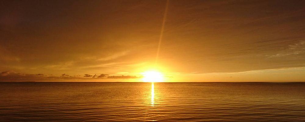 幻想的に煌めく夕日を眺め