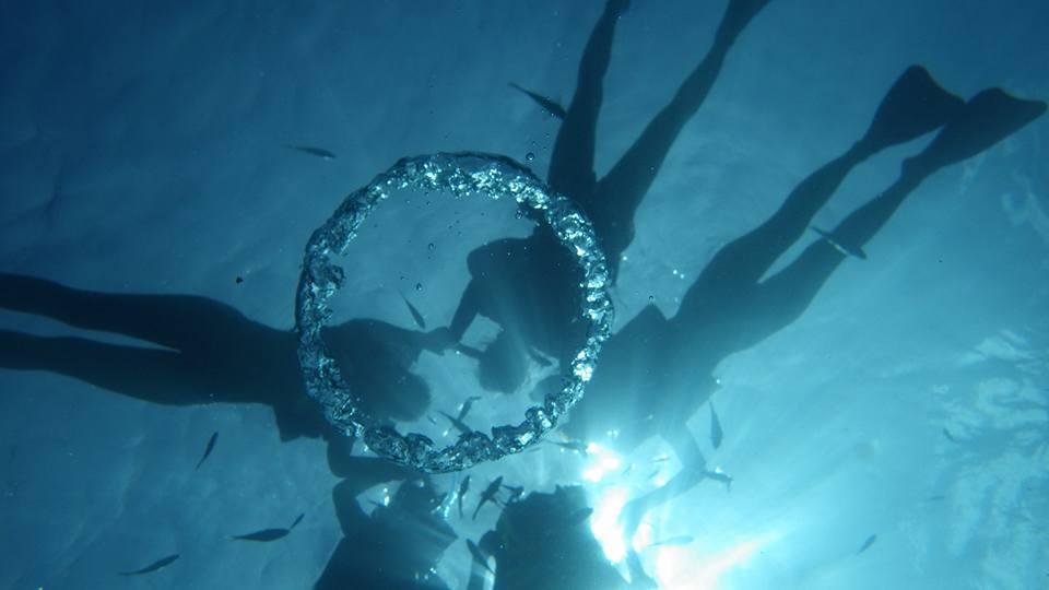 幻想的な海中リングとシュノーケリング中のメンバー